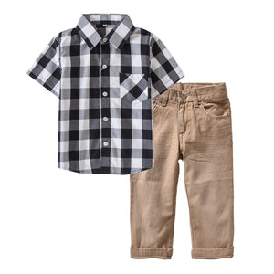 Boys Clothing Sets Casual Cotton Plaid Shirt +Pants Set 4-12 Years