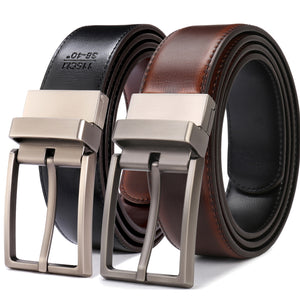 Men's Reversible Dress Belt with Double Stitch Edging