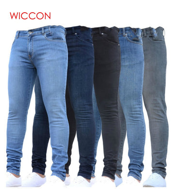 Men's Pencil Pants Slim Fit Straight Stretch Zipper Jeans