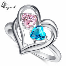 Blue/Pink/Red/Green CZ White Gold Color Ring