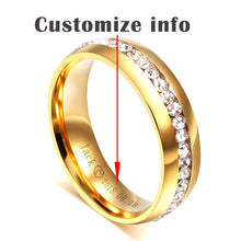 Vnox Personalized Gold-color Wedding Bands Ring for Women Men Jewelry 6mm Stainless Steel Engagement Ring Anniversary Gift