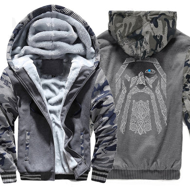 winter sweatshirt raglan print jacket tracksuit Odin Vikings hoodies for men 2019 new fashion wool liner Camouflage sleeve coats