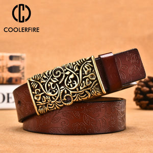 Leather Belts For Women Carved Design Retro Metal