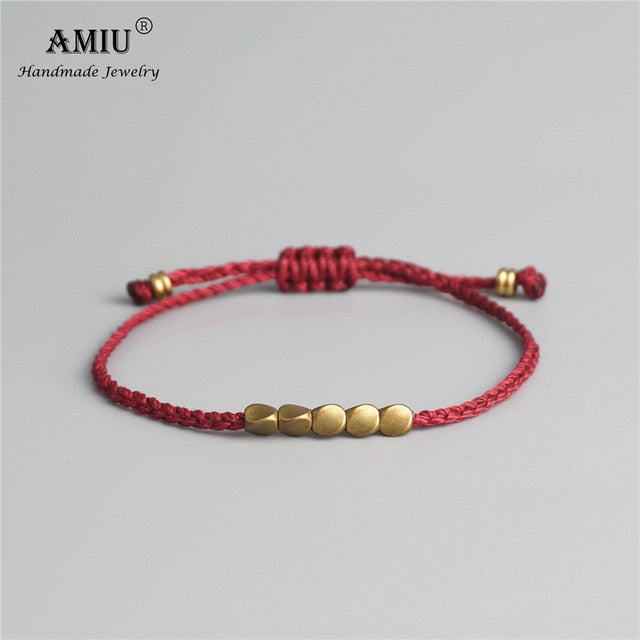 AMIU Handmade Tibetan Copper Bead Lucky Rope Bracelet & Bangles For Women Men Wax Thread Bracelets