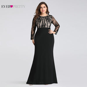 Evening Dresses Long 2019 Ever Pretty Elegant Mermaid Lace Full Sleeve O-neck Plus Size Mother of the Bride Dresses