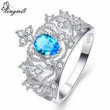 Crown Shaped Princess Multi-color/Sea blue Zircon Silver 925 Ring
