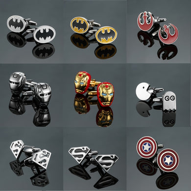 Free delivery, high quality men's shirts fashion brands jewelry cuff buttons super hero Captain America Batman cuff links