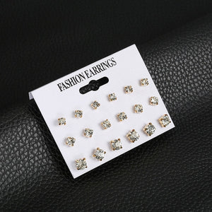 Fashion 12 pair/set Women Square Crystal Heart Stud Earrings For Women