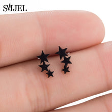 Black Geometric Round Stainless Steel Stud Earrings