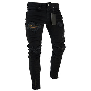 Men's Ripped Skinny Jeans Stretch Frayed Slim Fit Denim