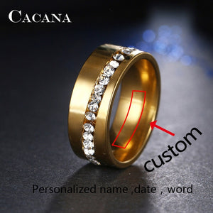CACANA  Stainless Steel Rings For Women Slash A Line Of CZ  Personalized Custom Fashion Jewelry Wholesale NO.R68