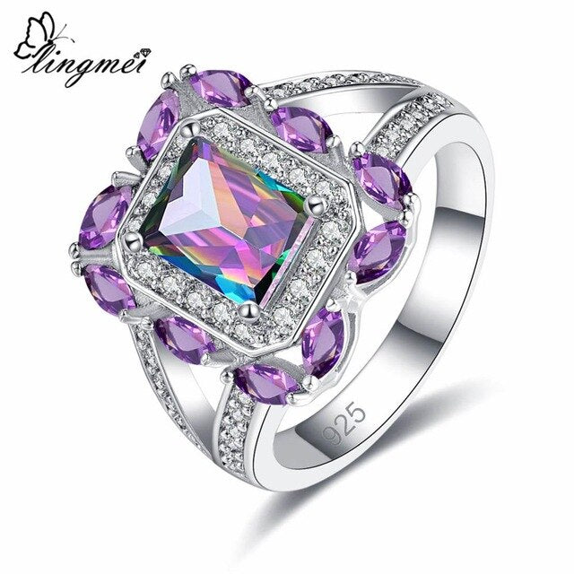 Fire Rainbow/White/Pink/Red/Purple Cubic Zirconia 925 Silver Ring