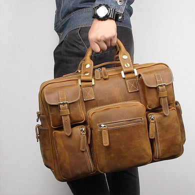Vintage Brown Thick Genuine Crazy Horse Leather Briefcase