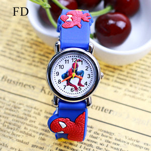 3D Rubber Strap Spiderman Children Watch Kids Cartoon Sports Quartz Wristwatch for Boys