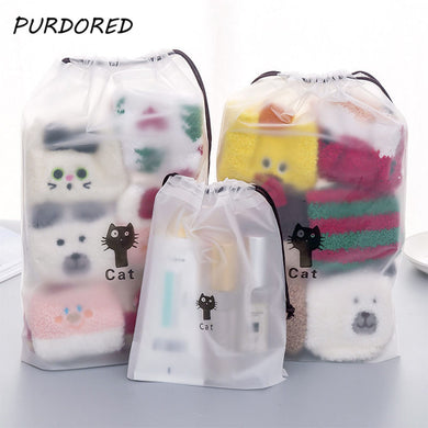 1 pc Cute Cat Transparent Make Up Organizer Storage Pouch