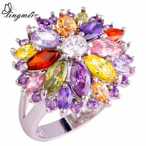 Cluster Peridot Red/Gold/Purple Cubic Zircon Silver Ring