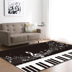 Black and White Piano Key Living Room Carpets Music Notes Kids Room Area Rug Mat Soft Flannel Big Home Decoration Rug Carpet