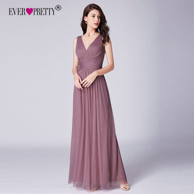 New Bridesmaids Dresses 2019 Ever Pretty Elegant A Line V Neck Long Tulle Pleated Wedding Party Gowns Robe Mousseline