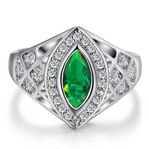 Marquise Cut Tourmaline GreenWhite CZ Gold Color Ring