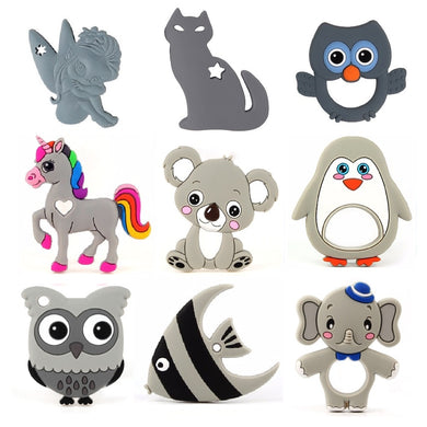 TYRY.HU 1PC Silicone Teethers Animal Koala Owl Food Grade BPA Free For Baby Teething Chew Charms Silicone Teether Bead Toy Gift