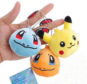 7CM Approx.  Stuffed Pikachu Plush Key chains Toy Bulbasaur Squirtle  Delicate keychain Gift Plush Toy Doll