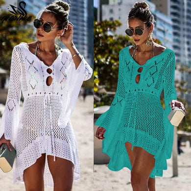 Crochet Knitted Beach Cover up dress Tunic Long Bikinis Cover ups