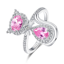 Cute Cat Shaped Multi-color/Pink/White CZ Silver Ring