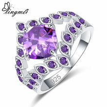 Round Marquise Purple/Gold Zircon Silver Ring