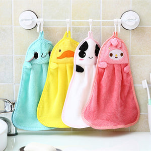 Baby Soft Plush Bath Towel Baby Nursery Hand Towel Cartoon Animal Wipe Hanging Bathing Towel For Children Bathroom 30% off