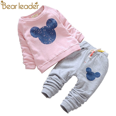 Baby Girls 2pc Outfit - Mickey Mouse Shirt Design & Pants.