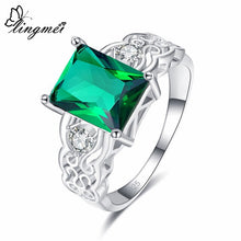 Women's Multi-color/White/Green Zircon Silver 925 Ring