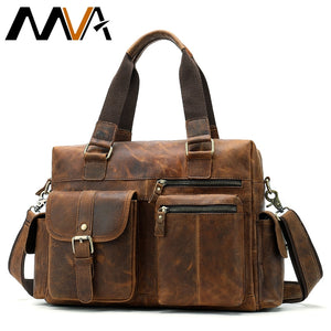 Genuine Leather Men's Briefcase Messenger Bag Shoulder Bag