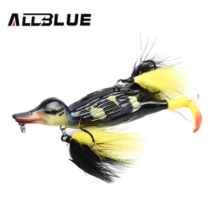 ALLBLUE 3D STUPID DUCK Topwater Fishing Lure Floating Artificial Bait Plopping and Splashing Feet Hard Fishing Tackle Geer