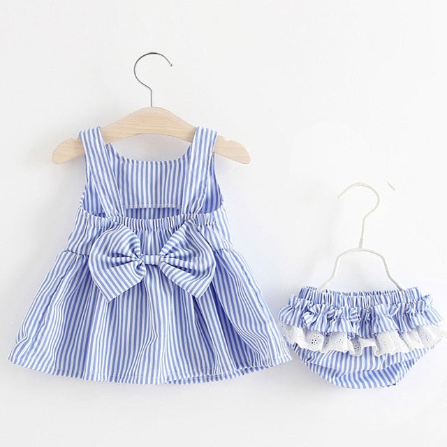 Baby Girls 3pc Set Sleeveless Striped Dress with Bloomers & Head Band