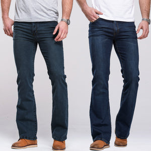 Men's Boot Cut Jeans Slightly Flared Slim Fit Famous Brand