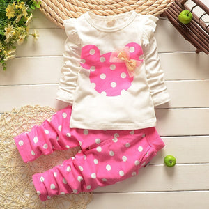 Bear Leader Baby Girls Clothes Casual Infant Clothing Sets Cartoon Printing Bow Sweatshirts+Casual Pants 2Pcs for Baby Newborn