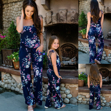 2019 Fashion Mommy and me clothes Family Matching Outfits Mom and daughter dress Girl Navy blue Floral Jumpsuits