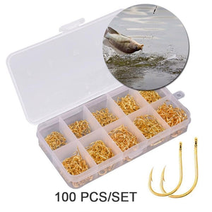 100 pcs High Carbon Steel Gold/Silver Carp Fishing Bait Hook Set