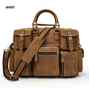 100% Genuine Leather Laptop Bag Business Travel
