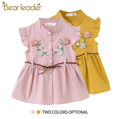 Bear Leader Baby Dresses 2019 New Summer Baby Girls Clothes Flowers Embroidery Princess Newborn Dresses With elt For 6M-24M