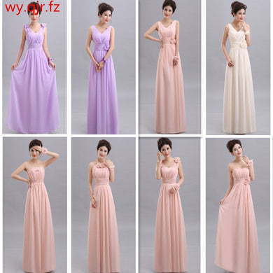 V-neck A-Line Lace Up Chiffon Peach Purple Champagne pink Bridesmaid Dresses Long wedding party dress