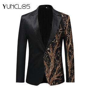 Single Breasted Sequin Stage Suit Jacket in a unique design