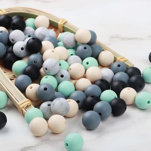 TYRY.HU 50PCS Silicone Beads Food Grade Baby Teethers Bead Round 12MM Pacifier Chain Accessories Teething Silicone