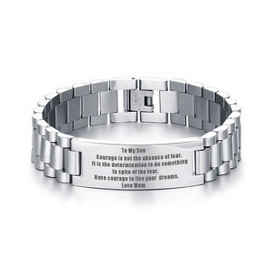 To My Son Courage Is Not The Basence Love Mom Men Bracelet Stainless Steel Brackelts Brazalet Braslet Armband Jewelry Gift