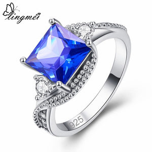 Gorgeous Mysterious Rainbow/White/Blue Cubic Zircon Silver Ring