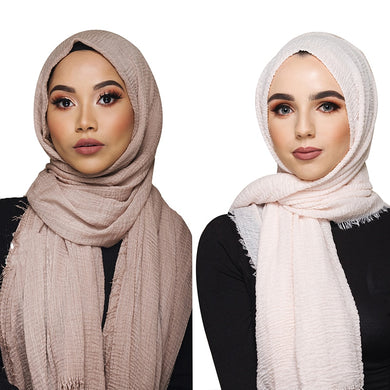 Women's Muslim crinkle Scarf soft cotton Headscarf & Wraps