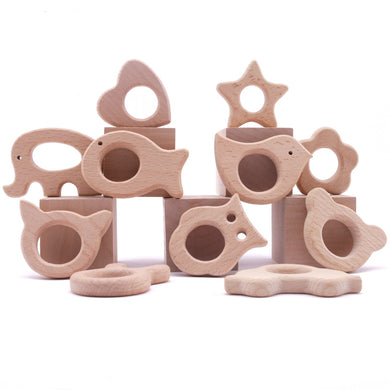 1 pc Baby Animal Natural Teething Wooden Teether Pendant For Pacifier