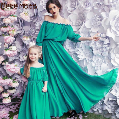 Mother Daughter Dresses Evening Mommy And Me Clothes Chiffon Family Look Mom And Daughter Maxi Dress Mum Baby Matching Outfits