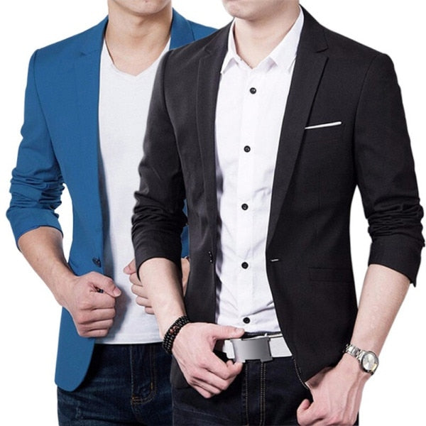 3XL Plus Size Korean Style Mens blazer slim fit cotton Suit Jacket black blue Male blazers Men's coat Work Wedding Wear