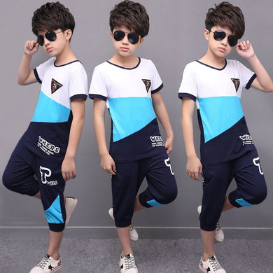 Boys Clothing Sets Cotton Tracksuit 2pc Casual Letter Patchwork